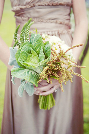 Unique wedding bouquet with cabbage and cauliflower