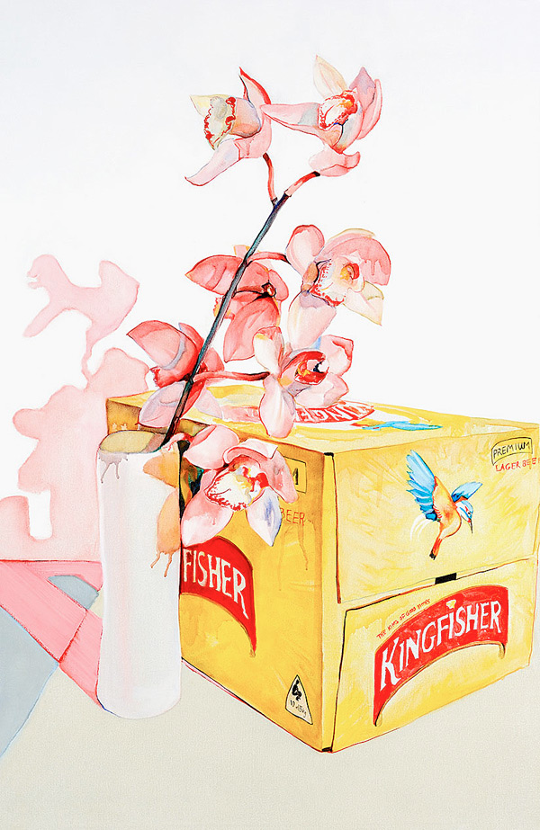 Watercolor painting of orchids by Julian Meagher.