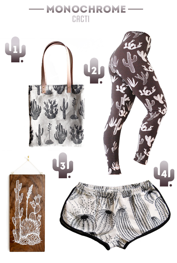 Cactus print shorts, leggings and tote back from Etsy.