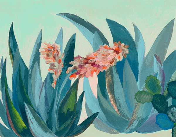 Cactus house plant painting by Laura Garcia Serventi.