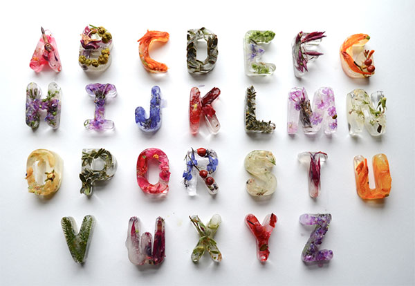 Floral ice letters garden typography by Petra Blahova