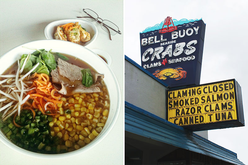 Ramen in Tempe, Arizona and dining at the Bell Buoy in Seaside, Oregon