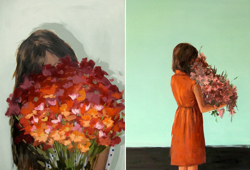 Floral portrait paintings by Clare Elsaesser