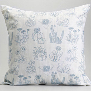 My Favorite Colour 'West Coast Succulents' botanical cushion