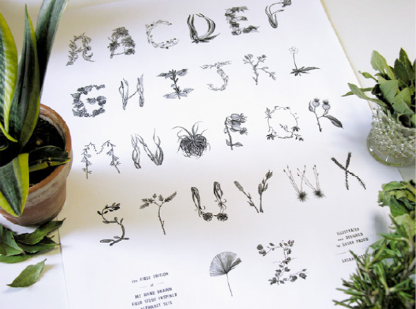Sasha Prood's botanical typography illustration, alphabet