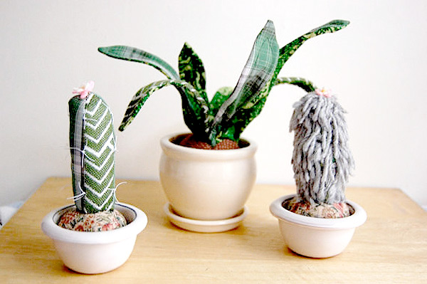Potted fabric cacti plants by Sian Keegan