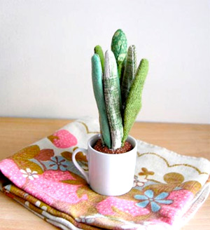 Potted fabric cacti plant by Sian Keegan