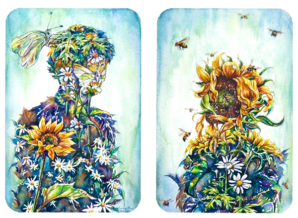 Romantic floral illustration by Sunny Gu