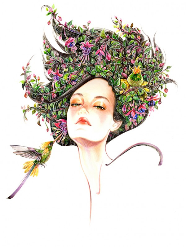 Floral headpiece fashion illustration by Sunny Gu
