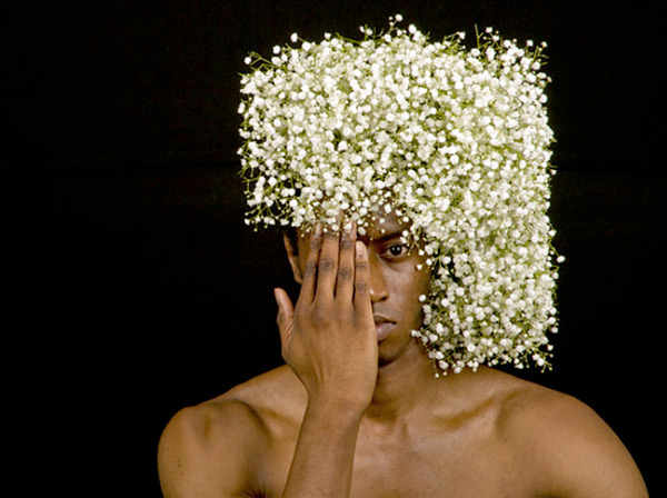 Floral headpiece on male model by Takaya Hanayuishi