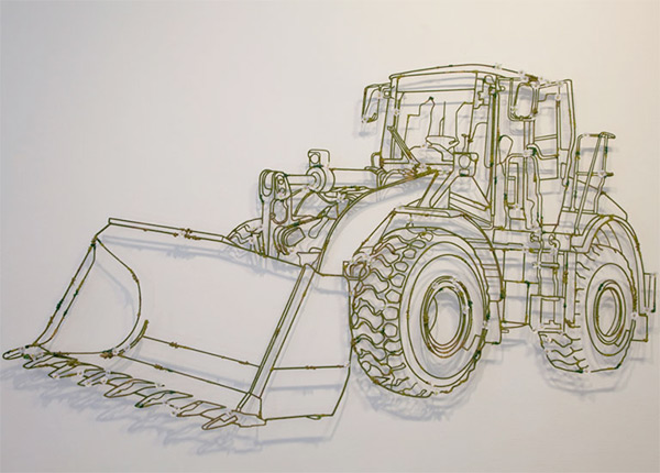 Organic bulldozer metal sculpture by Frank Plant