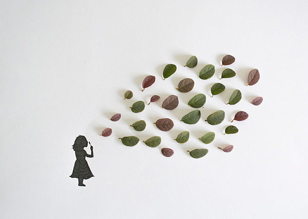 Mixed media leaf illustrations by Tang Chiew Ling